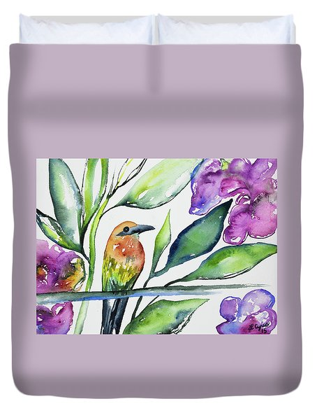 Watercolor - Rufous Motmot Duvet Cover