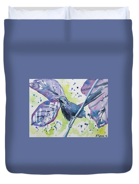 Watercolor - Smooth-billed Ani Duvet Cover