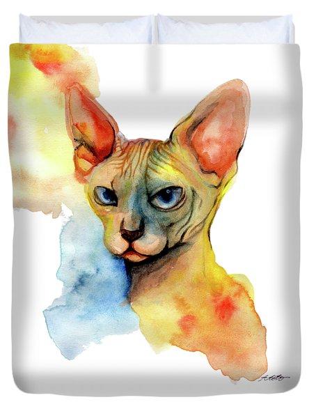 Watercolor Sphynx 2 Duvet Cover