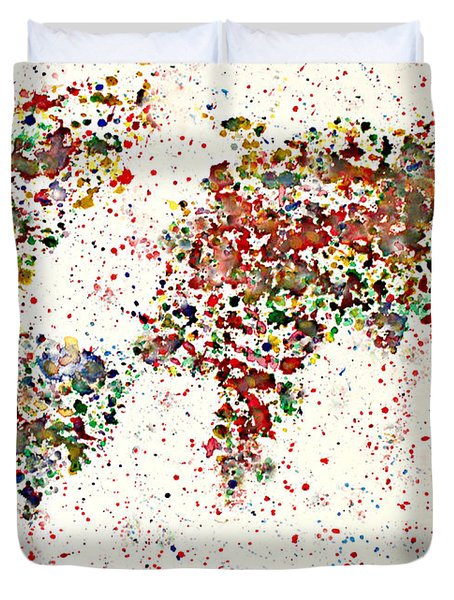 Watercolor Splashes World Map 2 Duvet Cover by Georgeta  Blanaru