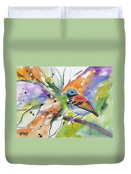 Watercolor - Spotted Antbird Duvet Cover