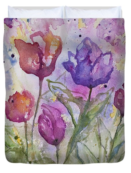 Watercolor - Spring Flowers Duvet Cover