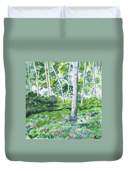 Watercolor - Spring Forest And Flowers Duvet Cover