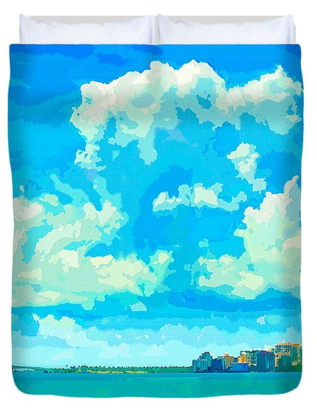 Watercolor Spring On Sarasota Bay Duvet Cover