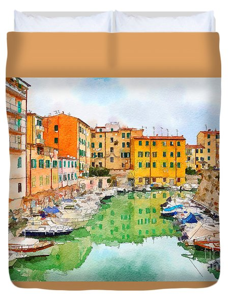 Duvet Cover featuring the digital art Watercolor Style by Ariadna De Raadt