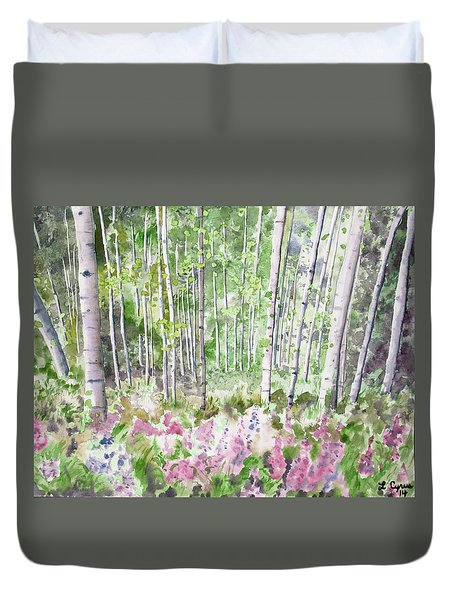 Watercolor - Summer Aspen Glade Duvet Cover