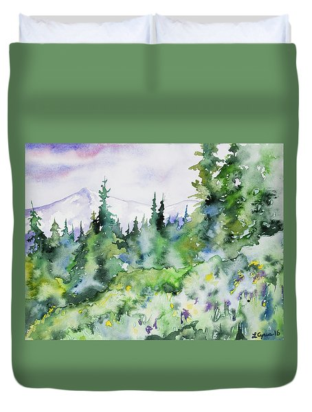 Watercolor - Summer In The Rockies Duvet Cover