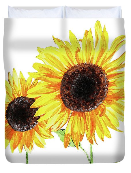 Duvet Cover featuring the painting Watercolor Sunflowers by Irina Sztukowski