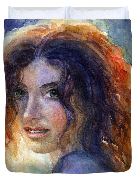 Watercolor Sunlit Woman Portrait 2 Duvet Cover by Svetlana Novikova