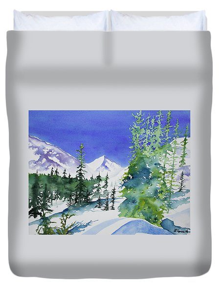 Watercolor - Sunny Winter Day In The Mountains Duvet Cover