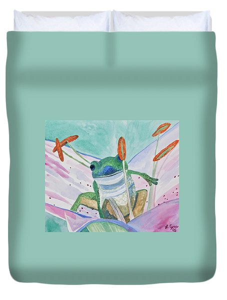 Watercolor - Tree Frog Duvet Cover