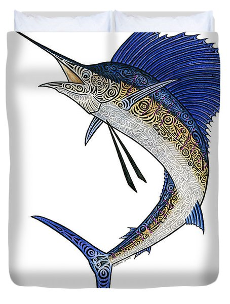 Watercolor Tribal Sailfish Duvet Cover by Carol Lynne