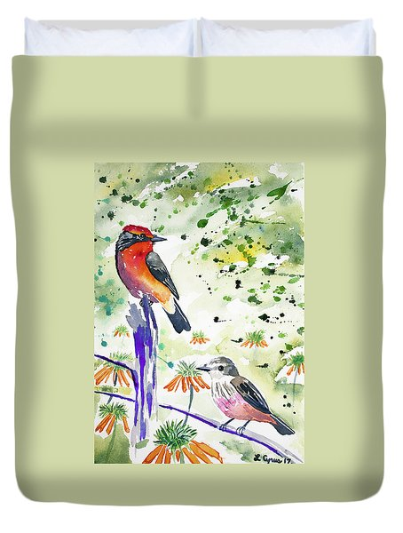 Watercolor - Vermilion Flycatcher Pair In Quito Duvet Cover