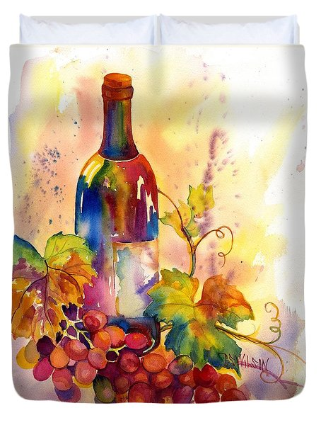 Watercolor Wine Duvet Cover by Peggy Wilson