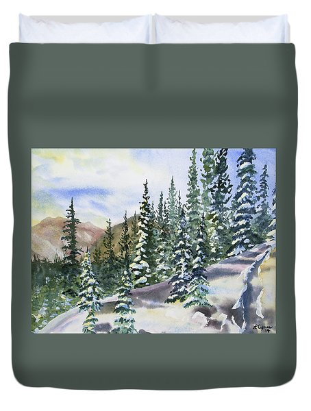 Duvet Cover featuring the painting Watercolor - Winter Snow-covered Landscape by Cascade Colors