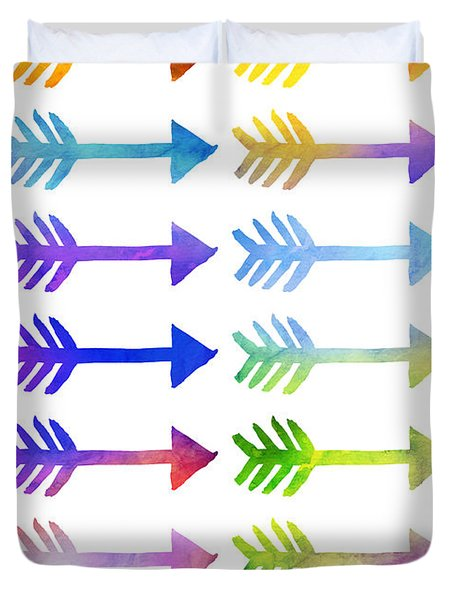 Watercolour Arrows In Various Colours Duvet Cover by Sophie McAulay