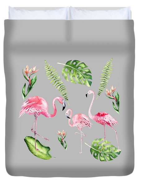 Duvet Cover featuring the painting Watercolour Flamingo Family by Georgeta Blanaru
