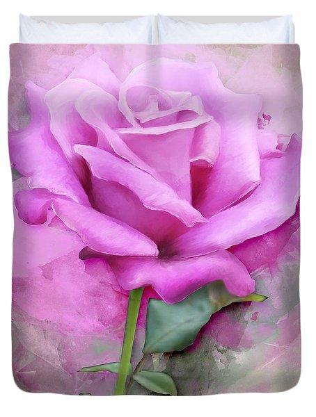 Watercolour Pastel Lilac Rose Duvet Cover