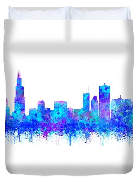 Duvet Cover featuring the painting Watercolour Splashes And Dripping Effect Chicago Skyline by Georgeta Blanaru