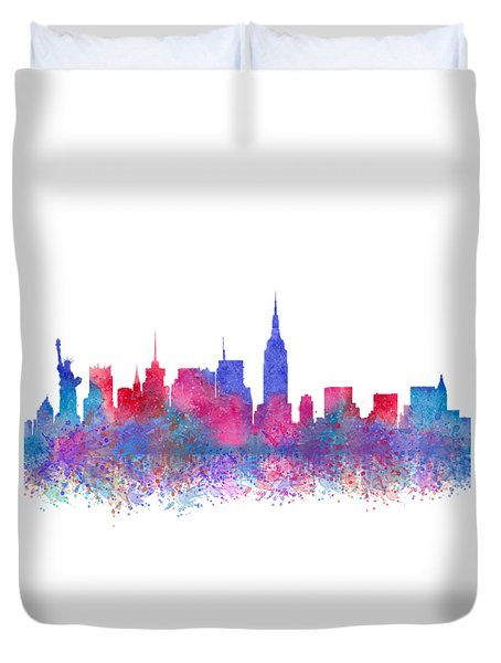 Duvet Cover featuring the digital art Watercolour Splashes New York City Skylines by Georgeta Blanaru