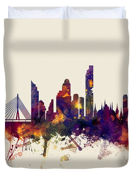 watercolour, watercolor, urban,  Bangkok, Bangkok skyline, bangkok cityscape, city skyline, thailand Duvet Cover