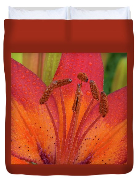 Duvet Cover featuring the photograph Watered Lily by Jean Noren