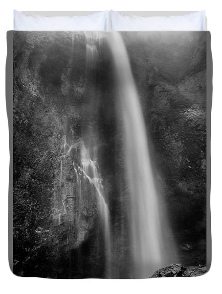 Duvet Cover featuring the photograph Waterfall 5830 B/w by Chris McKenna
