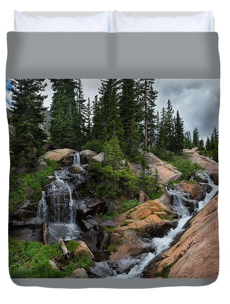 Waterfall Above Upper Slate Lake Duvet Cover