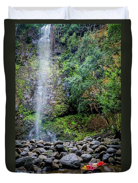 Waterfall And Flowers Duvet Cover