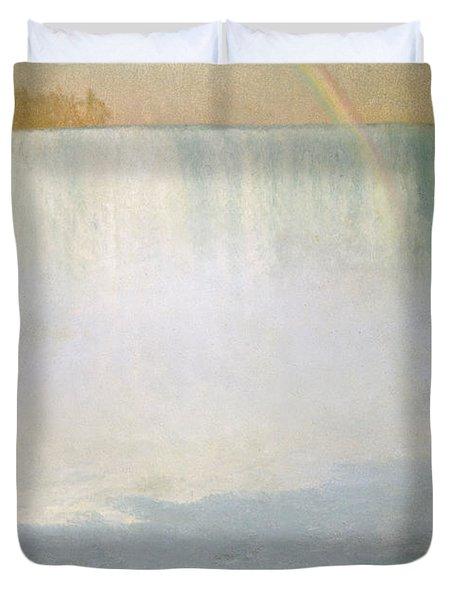 Waterfall And Rainbow At Niagara Falls Duvet Cover