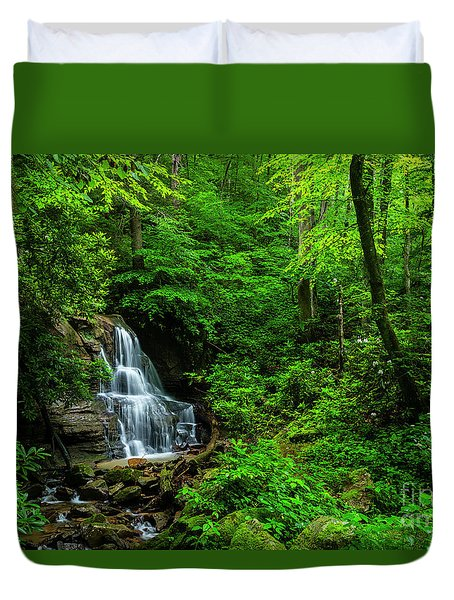 Waterfall And Rhododendron In Bloom Duvet Cover
