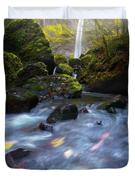 Waterfall And Stream With Fluxing Autumn Leaves Duvet Cover