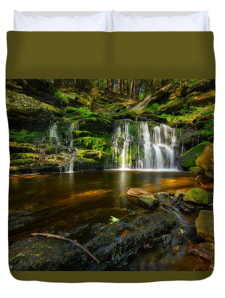 Waterfall At Day Pond State Park Duvet Cover by Craig Szymanski