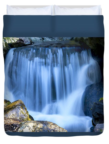 Waterfall At Dow Gardens, Midland Michigan Duvet Cover by Pat Cook