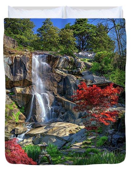 Waterfall At Maymont Duvet Cover by Rick Berk