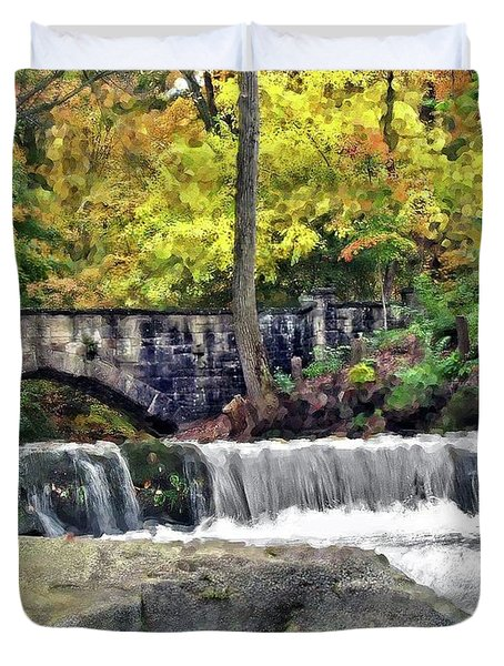 Waterfall At Olmsted Falls - 1 Duvet Cover