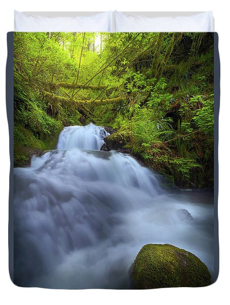 Waterfall At Shepperds Dell Falls Duvet Cover by David Gn