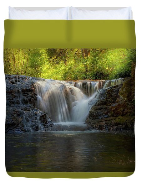 Waterfall At Sweet Creek Hiking Trail Complex Duvet Cover by David Gn