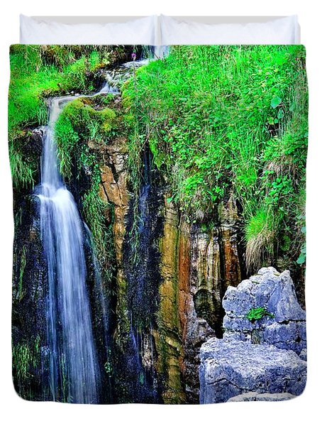 Waterfall At The Buttertubs, Swaledale Duvet Cover