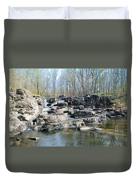 Duvet Cover featuring the photograph Waterfall At Wickecheoke Creek by Bill Cannon