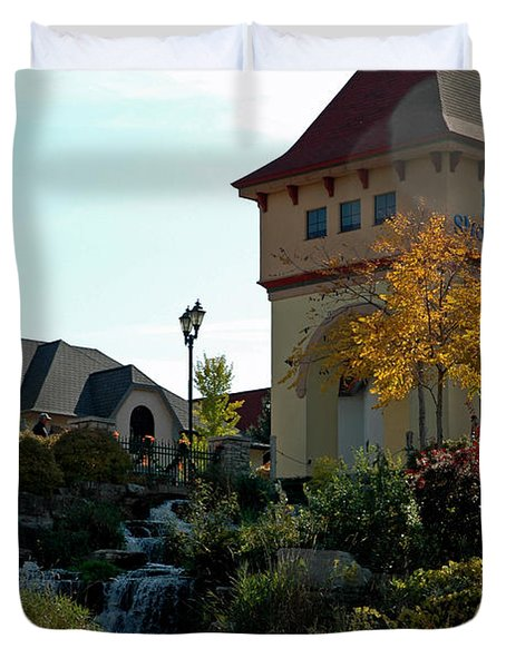 Duvet Cover featuring the photograph Waterfall Frankenmuth Mich by LeeAnn McLaneGoetz McLaneGoetzStudioLLCcom