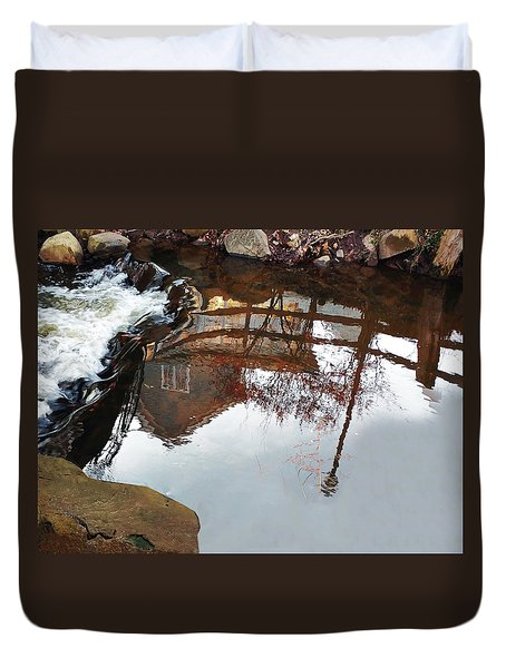 Waterfall From Calm Waters Duvet Cover