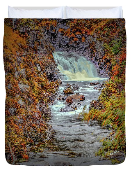 Duvet Cover featuring the photograph Waterfall #g8 by Leif Sohlman