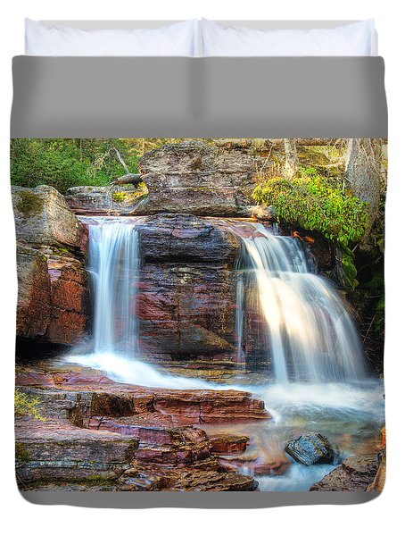 Duvet Cover featuring the photograph Waterfall by Gary Lengyel