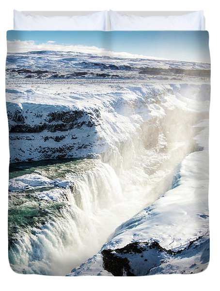 Duvet Cover featuring the photograph Waterfall Gullfoss Iceland In Winter by Matthias Hauser