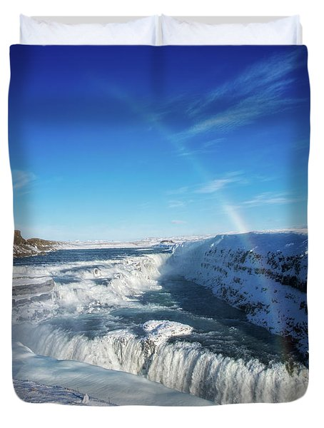 Duvet Cover featuring the photograph Waterfall Gullfoss In Winter Iceland Europe by Matthias Hauser
