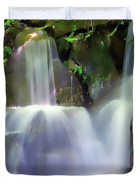 Duvet Cover featuring the painting Waterfall by Harry Warrick