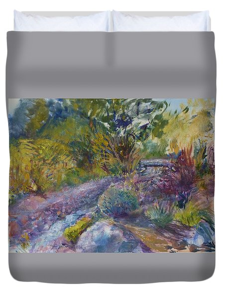 Chartreuse And Magenta Duvet Cover by Helen Campbell