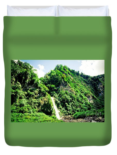 waterfall Himalayas mountains NEPAL Duvet Cover