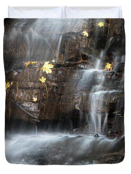 Waterfall In Autumn Sunlight Duvet Cover